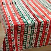 JaneYU Navidad impreso tela Navidad patrón algodón Lino tela DIY Navidad decoración tela para el sofá del vestido del remiendo