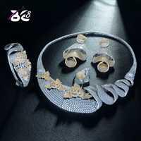 8 de última moda boda 2 tonos conjunto de joyas de Zirconia cúbica collar de declaración pendientes conjuntos para las mujeres anillo de brazalete S326