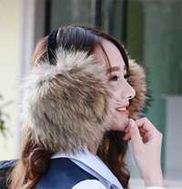 Accesorios de invierno para las mujeres esquí necesario piel cubierta orejas súper real mapache lana oído bolsa orejeras