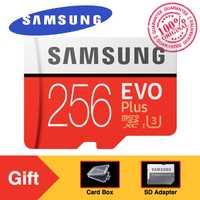 Original SAMSUNG Micro SD memoria EVO Plus 256 GB 95 MB/S Class10 U3 UHS-I TF 4 K HD con adaptador para Smartphone Tablet