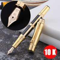 Lujosa pluma estilográfica de oro de 10 K con Clip de metal dorado, bolígrafos de escritura de lujo, papelería de oficina, material escolar 1015