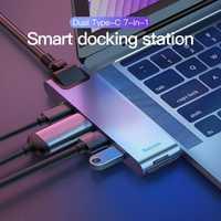 Baseus 7 en 1 Hub USB C doble tipo C a HDMI USB 3,0 RJ45 lector de tarjetas PD para macBook Pro OTG HUB USB Splitter