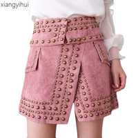 Otoño e Invierno de moda Punk remache mujeres falda de Color rosa negro Streewear mujer cintura alta Slim equipado de faldas