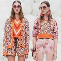 Suéter elegante conjunto unidades de 3 piezas mujeres chándales 2018 diseño de pasarela Flora Twinset Chaqueta de punto chaleco pantalones cortos trajes naranja