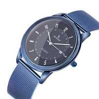 Relojes para hombre con correa de malla de acero azul de lujo para hombre, moda para hombre de negocios de reloj de pulsera, deportivo Casual para hombre ver