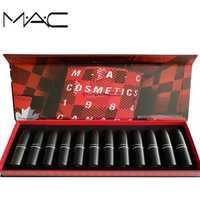 MAC maquillaje 12 colores diferentes de mujeres Sexy conjunto limitado de Multi-función Sexy labios mate brillo de labios cejas tinte de cosméticos