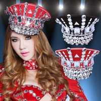 Nueva noche Bar Ds Costume accesorios diamante brillante uniforme tentación gorra de policía banda gran sombrero de moda militar ejército sombrero 2018