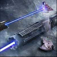 Más poderoso quemando láser linterna cañón 450nm 500000 m 500 W SOS linterna puntero láser azul quemar madera seca Luz puros de caza