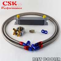Enfriador de aceite de motor de 9 filas con termostato 80 Deg Kit adaptador de filtro de aceite plata/negro