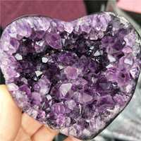 DHXSW de alta calidad urugay amatista cristal cluster corazón increíble calidad
