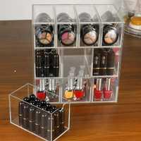 10 cuadrículas organizador de maquillaje de acrílico de lápiz labial cosmético caja de almacenamiento caja de la caja de joyería caso titular de pantalla organizador