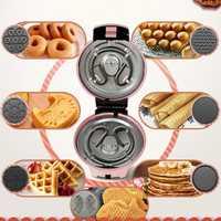 220V multifuncional eléctrico pastel waffle del fabricante Donut Crepe máquina de cocción con placas 7 para el hogar el desayuno que hace la máquina