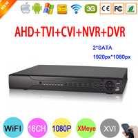 Hi3531A 16CH dos SATA Coaxial híbrido 1080 P Full HD 2MP de 6 en 1 grabadora de vídeo NVR TVI CVI AHD DVR CCTV envío gratis