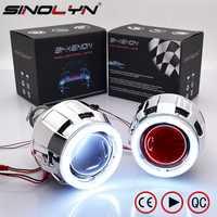 Sinolyn COB LED Ángel ojos de diablo Bi xenón lente proyector faros para coche modificación DIY W/luces de circulación diurna 2,5 ''H4 H7