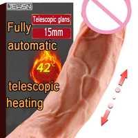 Gran simulación pene completamente automática de la vibración de calefacción telescópica mujer masturbador vibrador palo sexo máquina de