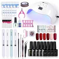 UR azúcar Gel esmalte de uñas Set 40 W UV lámpara LED de curado herramientas de manicura pegatina de uñas Base superior abrigo removedor de esmalte juego de envolturas