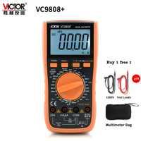 VICTOR VC9808 + 3 1/2 multímetro Digital de verdadero valor eficaz (RMS) 1000 V 20A portátil medidor voltímetro amperímetro inductancia de frecuencia Tester DC AC