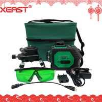 Soporte técnico de Xeast 12 líneas verde Rayo de 3D de 360 grados de rotación de la pared de la línea de Auto-nivelación láser medidor de nivel máquina Herramienta