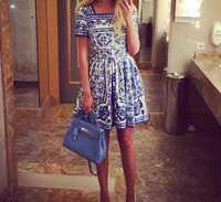 Nuevo 2015 verano estilo mujer vintage moda marca azul blanco porcelana vestido estampado cuello cuadrado manga corta Delgado lindo vestidos