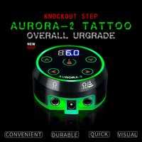 Nuevo Mini crítica AURORA II LCD tatuaje fuente de alimentación con adaptador de corriente para bobina y Rotary máquinas de tatuaje