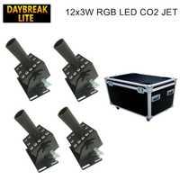 4 unids/lote led co2 jet dmx512 Etapa 12x3 w rgb dj co2 máquina con caso de carretera (flycase embalaje)