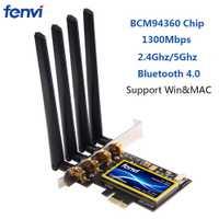Fenvi doble banda 1300 Mbps PCI Express de escritorio adaptador inalámbrico Broadcom BCM94360 tarjeta Wifi 802.11ac para Hackintosh/Mac OS /Windows