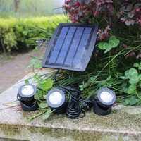 Al aire libre LED solar reflector 3 cabezas de energía solar bajo el agua de la lámpara de proyección tipo split interior lámpara de iluminación lámpara de jardín