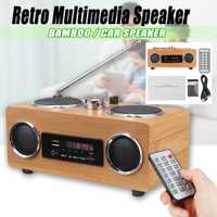 Retro Vintage Radio Super Bass FM Radio bambú altavoces Multimedia clásico receptor USB con MP3 Player Control remoto
