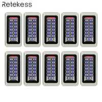 10 piezas teclado Sistema de Control de Acceso RFID tarjeta de proximidad independiente de 2000 usuarios de Control de acceso de la puerta impermeable F9501D