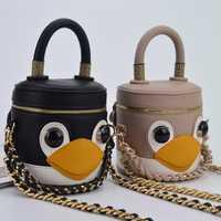 2018 nuevo Niñas hombro famoso diseñador coreano moda señoras cadena pequeño flap bolso hit color lindo pingüino pequeño bolsa