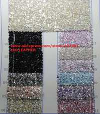 90x134 cm Pieles sintéticas Faux cuero Telas Glitter cuero Big Glitter multi-colores brillo cuero para Costura arco DIY p745