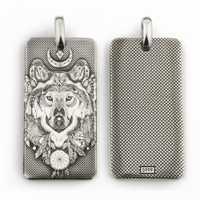 EE. UU. 999 de plata esterlina Lobo indio DogTag láser grabado de colgante 9X031 S JP 4PX