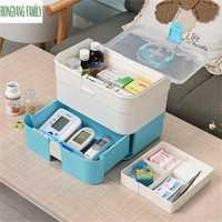 De primeros auxilios de la familia hogar médico caja de almacenamiento de cajón de drogas reunión organizador casa salud contenedor de caja de medicina