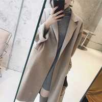 Otoño Invierno de las mujeres abrigos de lana mezcla abrigo cuello cinturón Abrigos Mujer largo abrigo