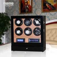Venta caliente, reloj de lujo winder caja 6 reloj automático con pantalla LCD de pantalla táctil/control Remoto/luz LED para regalo de Cumpleaños
