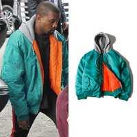 Kanye West MA1 piloto bombardero chaqueta con capucha hombre grueso 2018 tendencia Streetwear Color puro falda cremallera manga suelta ropa urbana
