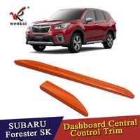 Para Subaru Forester 2018 SK 2019 ABS cromo accesorios del Interior del coche Interior de Control Central tiras cubierta adornos decoración de 2 piezas