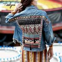 Chaqueta femenina de mezclilla teelyn chaqueta de otoño vintage étnica apliques bordado borla abrigo suelto de manga larga chaqueta de abrigo para mujer