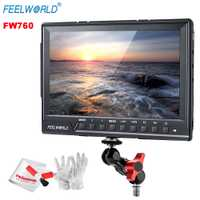 Feelworld FW760 Full HD 1920x1280 7 pulgadas Cámara IPS Filed Monitor HDMI Peaking Focus Assis con la magia adaptador de montaje de brazo