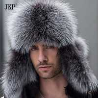 Ruso bomber de cuero sombrero de cuero de los hombres de invierno sombreros con orejeras trampero gorrita tejida hombre de la gorra mapache real de piel de zorro negro hatska