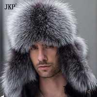 Russe en cuir bombardier en cuir chapeau hommes chapeaux d'hiver avec cache-oreilles trapper earflap cap homme réel fourrure de raton laveur noir renard hatska