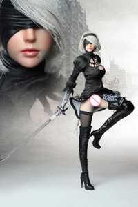 PS4 juego Cosplay SET015 NIER AUTOMATA YORHA 1/6 ropa de mujer conjunto de ropa W 2B cabeza y cuerpo figura para ph Body pale