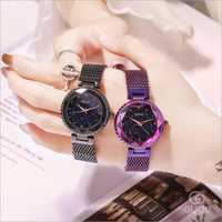 Reloj GUOU a la moda moderno cielo estrellado dial relojes mujer elegante Acero inoxidable señoras reloj saat relojes mujer reloj femenino
