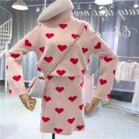 ALPHALMODA Otoño Invierno de las mujeres ropa de manga larga de cuello alto corazón huellas de suéter + falda 2 unidades para las mujeres