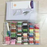 96 piezas colores bordado hilo Cruz puntada hilo Kit con enhebrador bobinas agujas de coser caja de almacenamiento de bordado de arranque