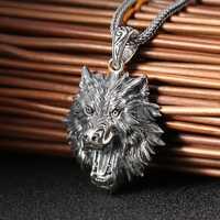 S925 handmade Mighty Lobo cabeza colgante retro personalidad colgante de los hombres