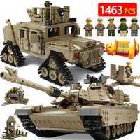Creator bloques Technic Compatible LegoINGLYS militares nos estación principal tanque M2A1 armas Vehículo blindado ladrillos juguetes para niños