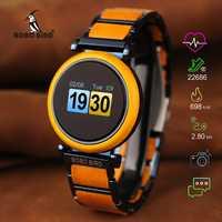 BOBO oiseau écran tactile montre de mouvement électronique en bois de luxe montre-bracelet hommes montre intelligente Relogio Masculino J-R27