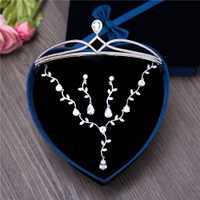 3 unids/set planta estilo pera joyas CZ joyas de Zirconia cúbica princesa corona de novia para boda pendiente collar regalo