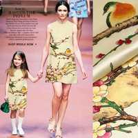 118*115 cm 19mm 93% seda y 7% spandex seda satén tela para una sola pieza vestido camisa chaqueta cheongsam con pintura china